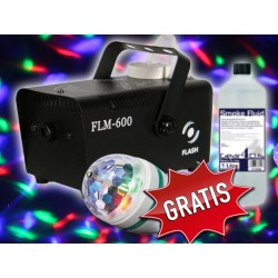 Zestaw Party Flash FLM600 wytwornica dymu + efekt led + płyn