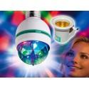 Żarówka DISCO LED obrotowa E27 + adapter E27